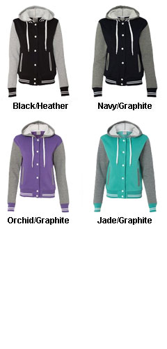Ladies Junior Fit Varsity Sweatshirt Jacket - All Colors