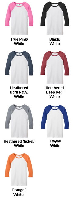 District Juniors 50/50 3/4 - Sleeve Raglan Tee - All Colors