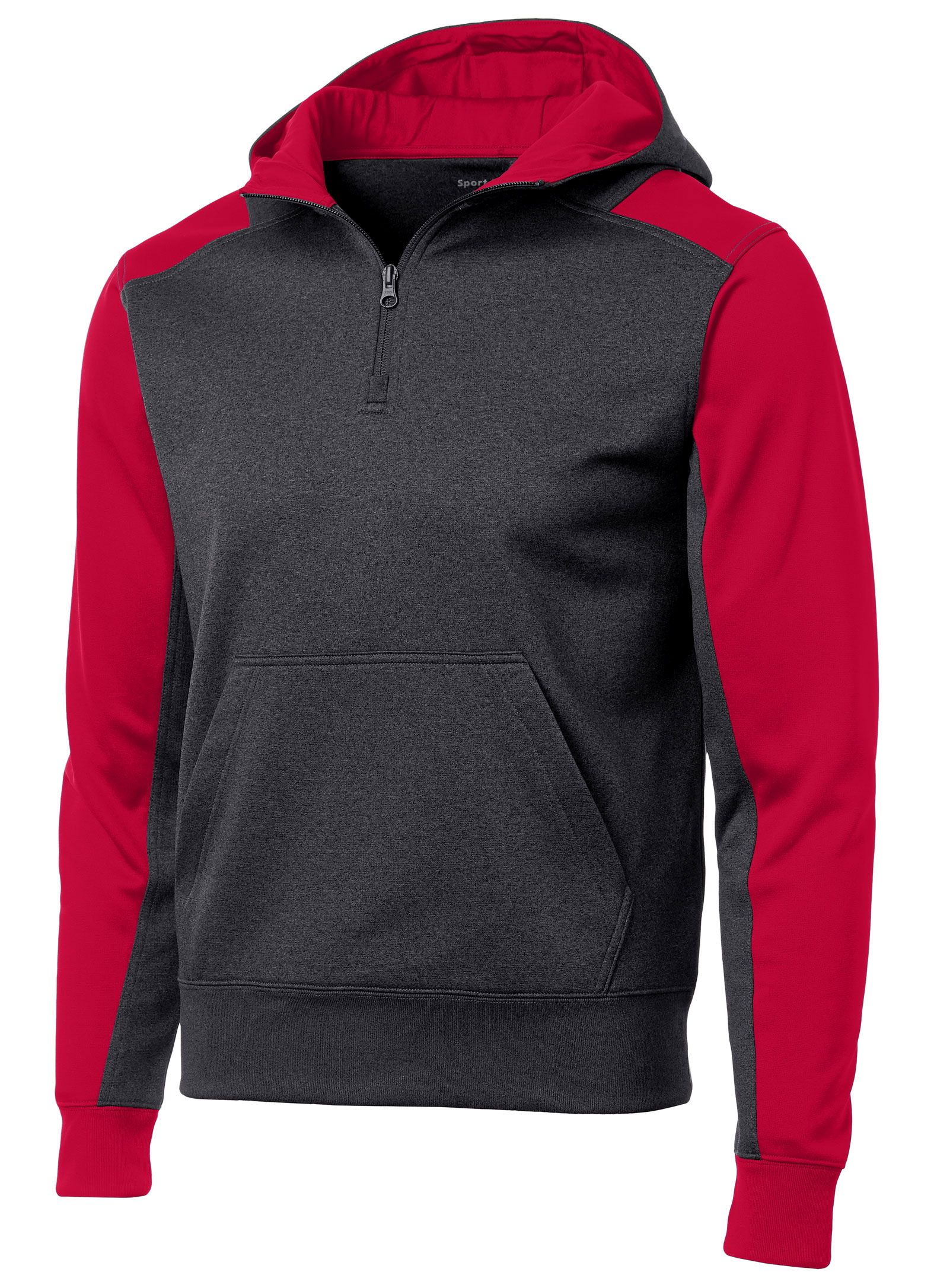 Sport-Tek® Mens Colorblock Tech Fleece 1/4-Zip Hooded Sweatshirt