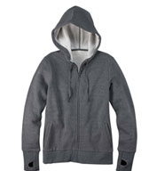 Ladies Full-Zip Fleece Hoodie with Runners Thumb