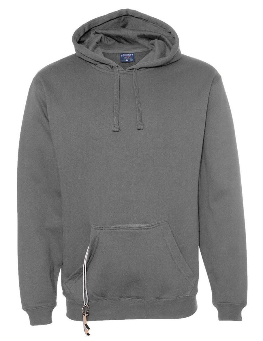 J.America Mens Tailgate Hoodie with Beverage Holder