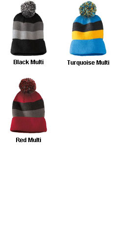 Vintage Striped Beanie with Removable Pom - All Colors