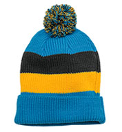 Custom District® Vintage Striped Beanie with Removable Pom