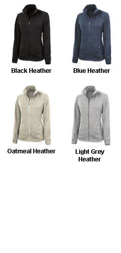 Ladies Heathered Fleece Sweater Jacket by Charles River - All Colors