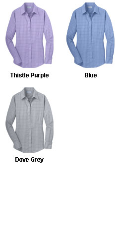 Ladies Windowpane Dress Shirt - All Colors