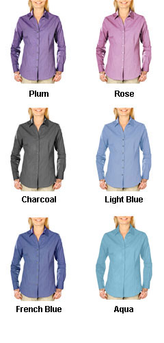 Ladies Heathered Crossweave Dress Shirt - All Colors