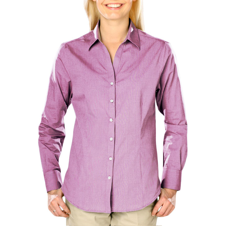 Blue Generation Ladies Heathered Crossweave Dress Shirt