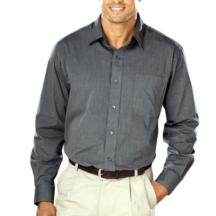 Mens Heathered Crossweave Dress Shirt