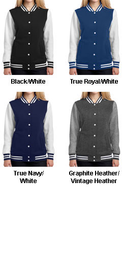 Ladies Fleece Letterman Jacket - All Colors