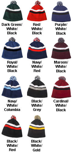Pom Pom Striped Beanie - All Colors