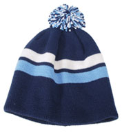 Pom Pom Striped Beanie