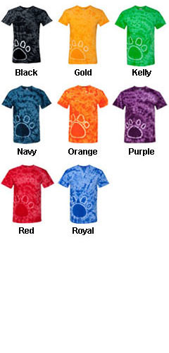 Gildan Unisex Adult Tie-Dye Pawprint T-Shirt - All Colors