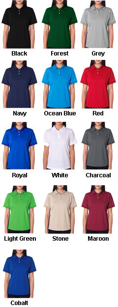 UltraClub Ladies Platinum Performance Pique Polo - All Colors