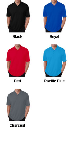 UltraClub Mens Cool and Dry Mini-Check Jacquard Polo - All Colors