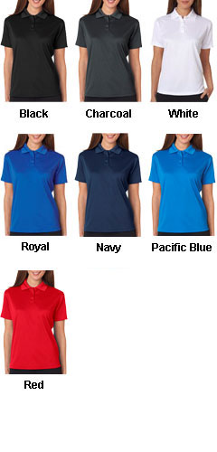 UltraClub Ladies Cool and Dry Mini-Check Jacquard Polo - All Colors