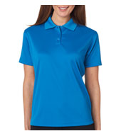 Custom UltraClub Ladies Cool and Dry Mini-Check Jacquard Polo