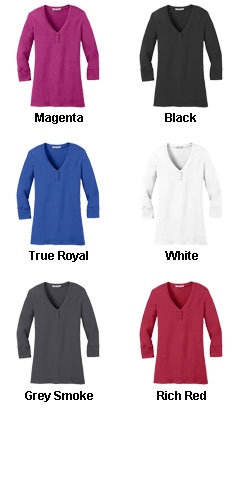 Ladies Concept 3/4 Sleeve Scoop Henley - All Colors