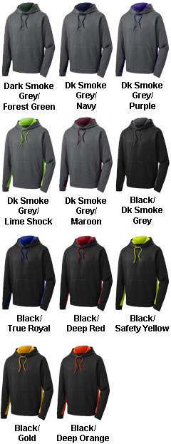 Mens Fleece Colorblock Hooded Pullover - All Colors