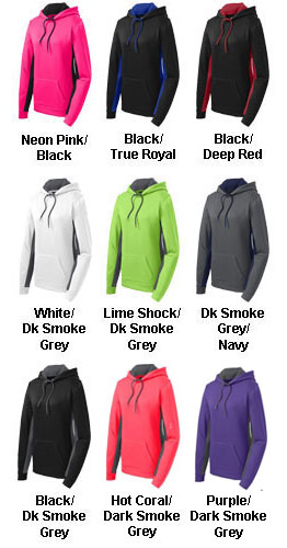Ladies Fleece Color Block Hooded Pullover - All Colors