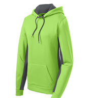 Custom Sport-Tek® Ladies Sport-Wick® Fleece Colorblock Hooded Pullover
