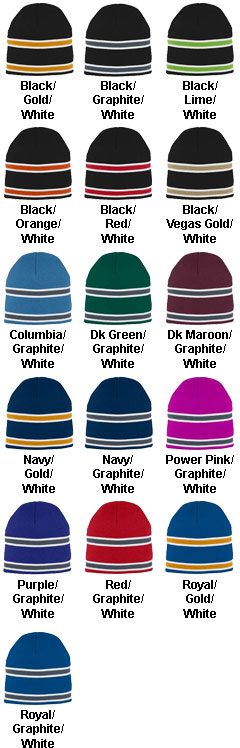 Striped Knit Beanie in Team Colors - All Colors