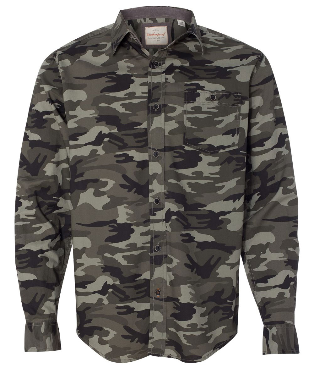 Mens Weatherproof Vintage Camo Shirt - Design Online or Buy It Blank 69c5d5ecaea