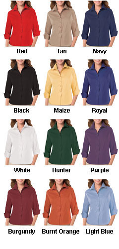 Ladies 3/4 Sleeve Fine Line Twill Shirt - All Colors