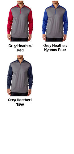 Mens UltraClub Cool & Dry Sport 2 - Tone Quarter Zip Pullover - All Colors