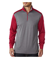 Custom Mens UltraClub Cool & Dry Sport 2 - Tone Quarter Zip Pullover