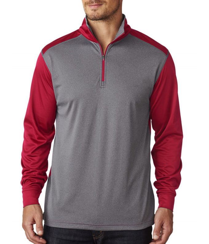 Mens UltraClub Cool & Dry Sport 2 - Tone Quarter Zip Pullover