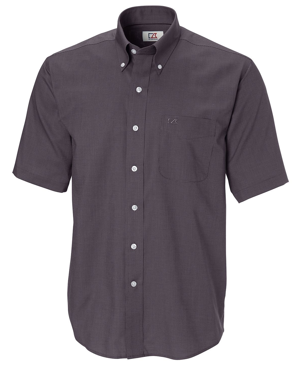 Mens Epic Easy Care Short Sleeve Nailshead Shirt by Cutter & Buck
