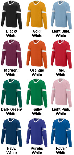 Youth Long Sleeve V-Neck Stripe Jersey - All Colors