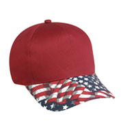 5 Panel American Flag Visor Cap