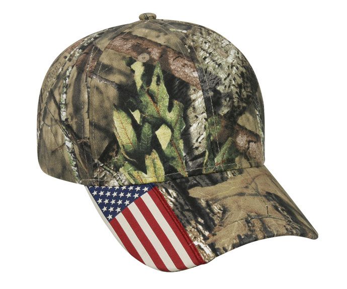 Outdoor Cap Camo Cap with Flag Accent