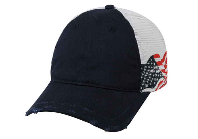 Outdoor Cap Unstructured Frayed Visor American Flag Mesh Back