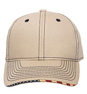 Custom Outdoor Cap Contrast Stitch Cap with American Flag Sandwich