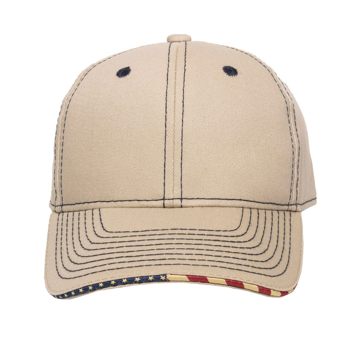 Contrast Stitch Cap with American Flag Sandwich