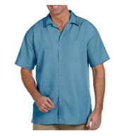 Custom Harriton Mens Barbados Textured Camp Shirt