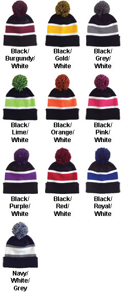 Striped Beanie with Pom - All Colors