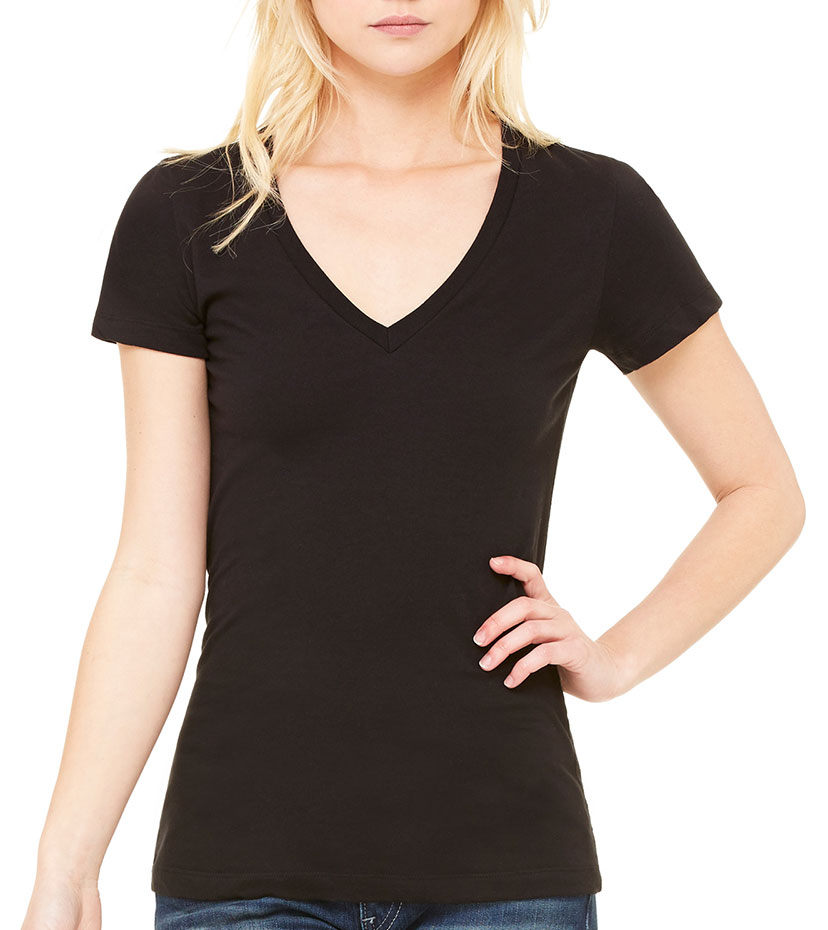 Bella Ladies Made in the USA Deep V-Neck T-Shirt