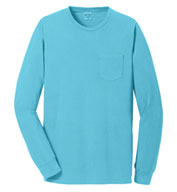 Custom Port & Company® Adult Beach Wash™ Long Sleeve Pocket Tee