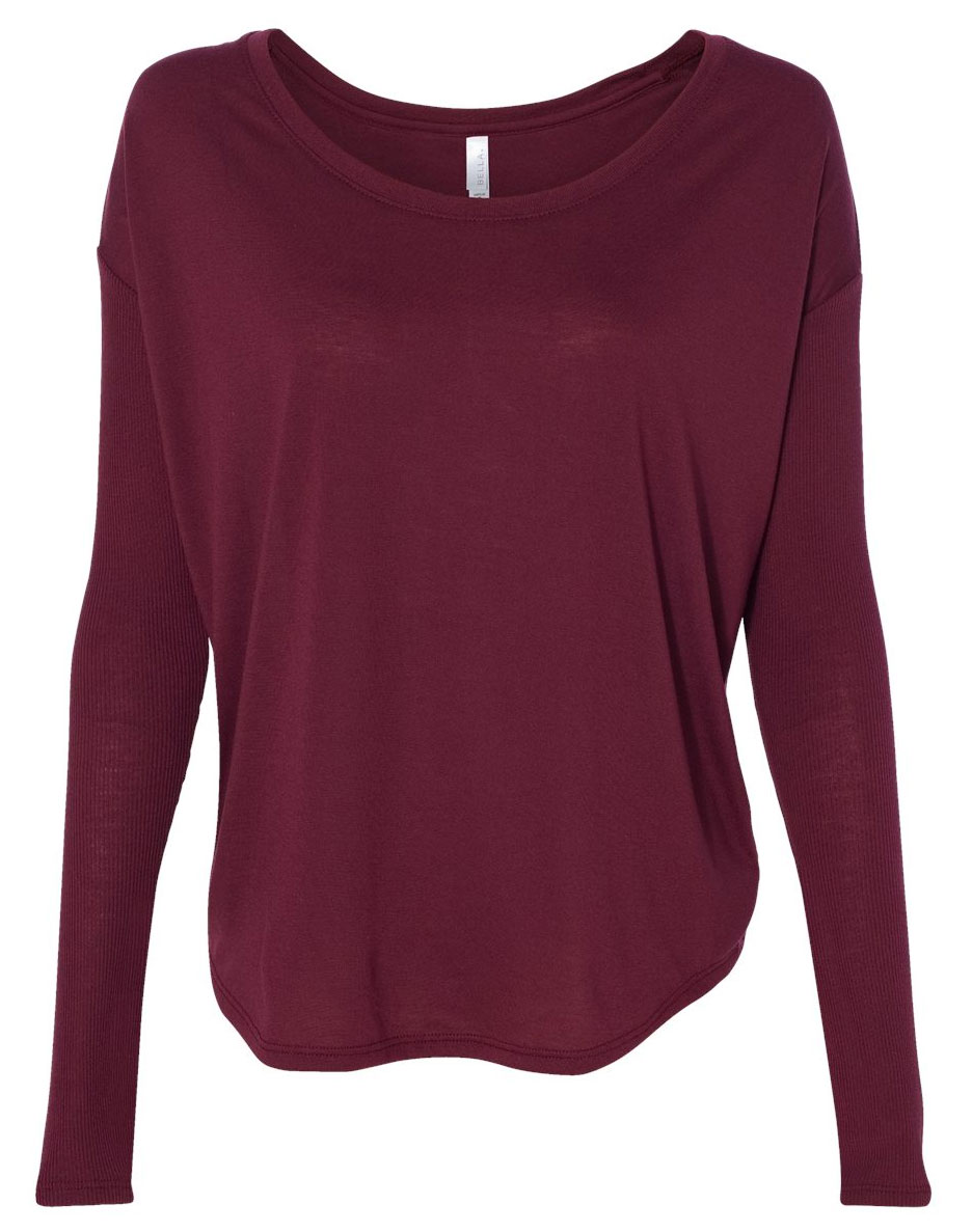 622a692c Design Bella + Canvas Ladies Flowy Long-Sleeve Tee with 2x1 Sleeves