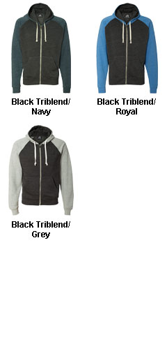 J. America Tri-Blend Color Block Full-Zip Hooded Fleece - All Colors