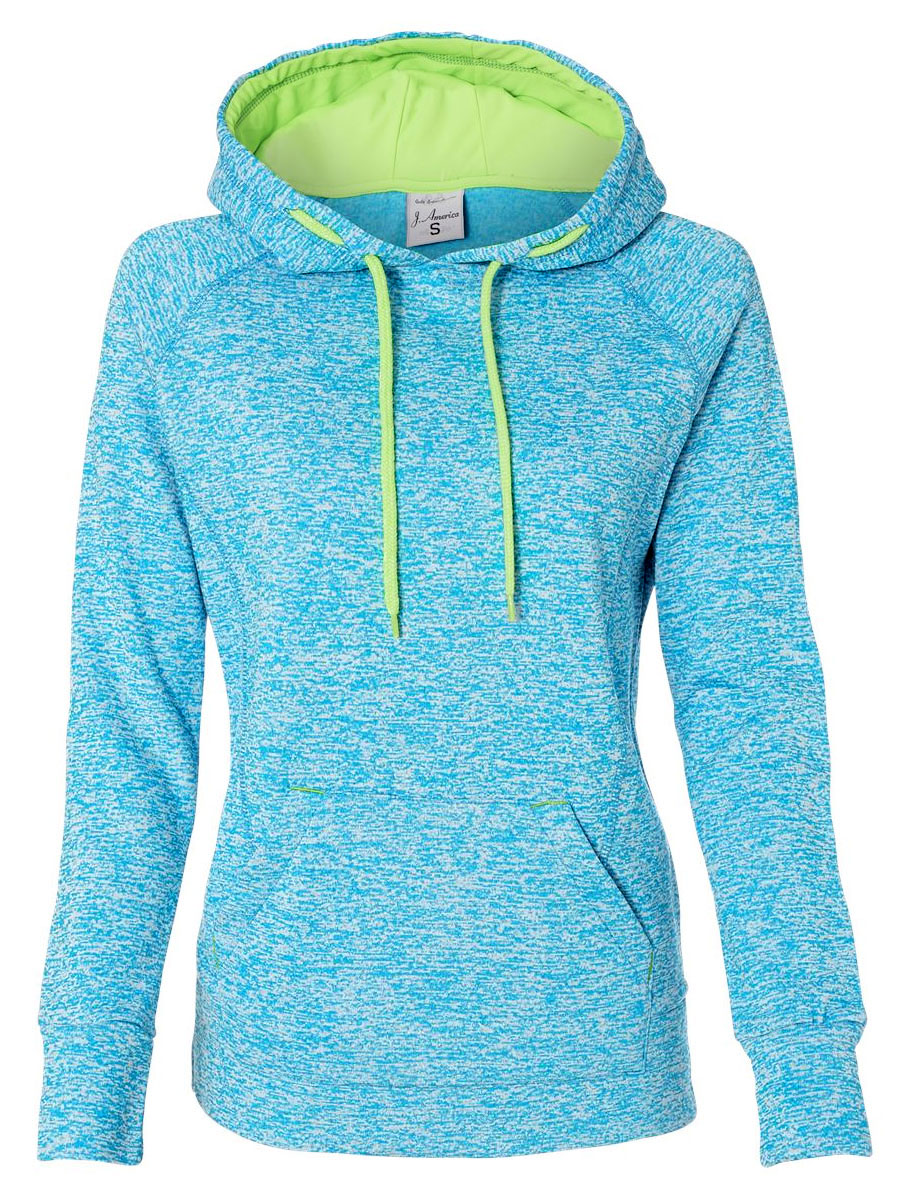 J. America Ladies Cosmic Contrast Pullover Hooded Fleece