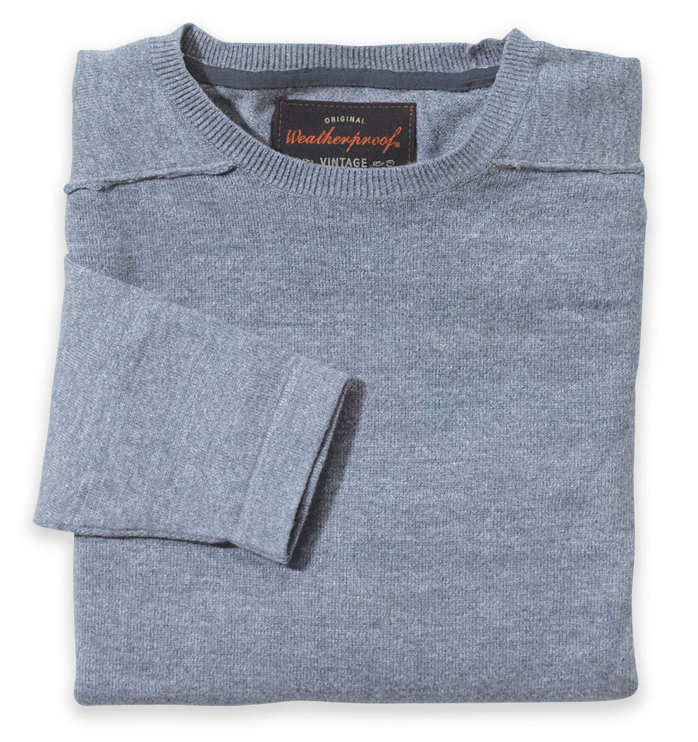 Mens Vintage Denim Crewneck Cotton Sweater