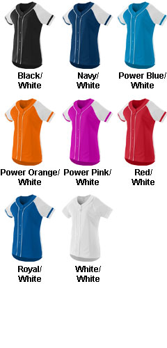 Ladies Faux Full Button Winner Jersey - All Colors