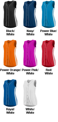 Ladies Faux Full Button Sleeveless Winner Jersey - All Colors