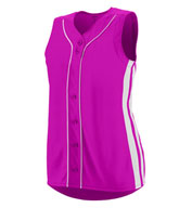 Custom Ladies Faux Full Button Sleeveless Winner Jersey