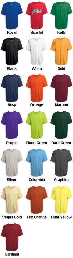 Youth Speedster Full Button Cool Mesh Jersey - All Colors