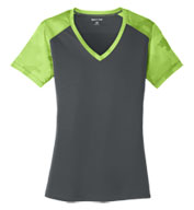 Custom Sport-Tek® Ladies CamoHex Colorblock V-Neck Tee